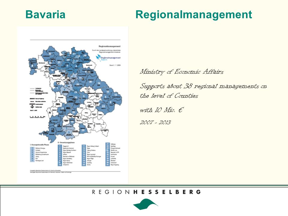 Bavaria bottom-up, informal Network of Regionalmanagements in Bavaria Bayern regional about 40 Regionalmanagements 5 professional groups 240 years of rural management experience in practice