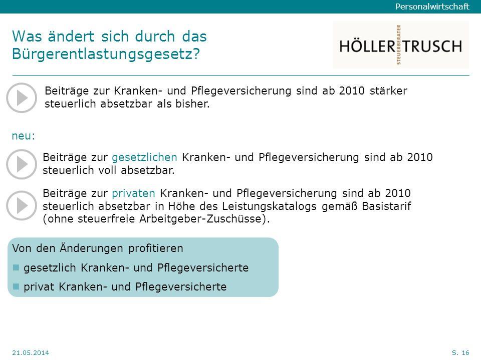 Personalwirtschaft Hier Position für Kanzleilogo 21.05.2014S. 16 Was ändert sich durch das Bürgerentlastungsgesetz? Beiträge zur gesetzlichen Kranken-