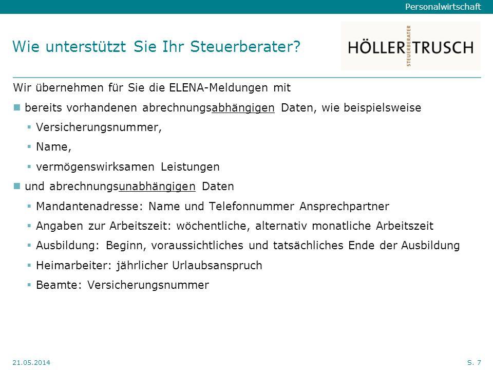 Personalwirtschaft Hier Position für Kanzleilogo 21.05.2014S.