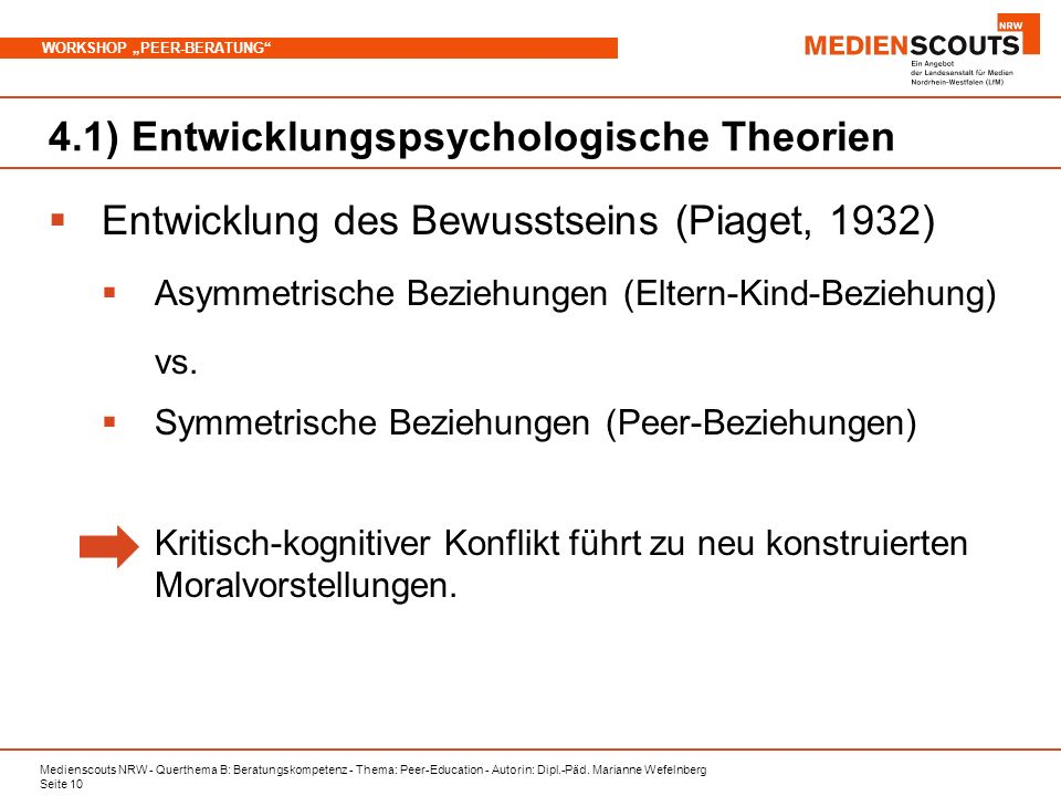 Medienscouts NRW - Querthema B: Beratungskompetenz - Thema: Peer-Education - Autorin: Dipl.-Päd. Marianne Wefelnberg Seite 10 WORKSHOP PEER-BERATUNG 4