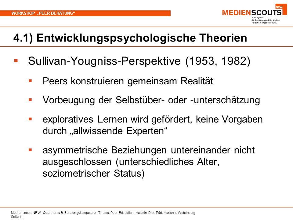 Medienscouts NRW - Querthema B: Beratungskompetenz - Thema: Peer-Education - Autorin: Dipl.-Päd. Marianne Wefelnberg Seite 11 WORKSHOP PEER-BERATUNG 4