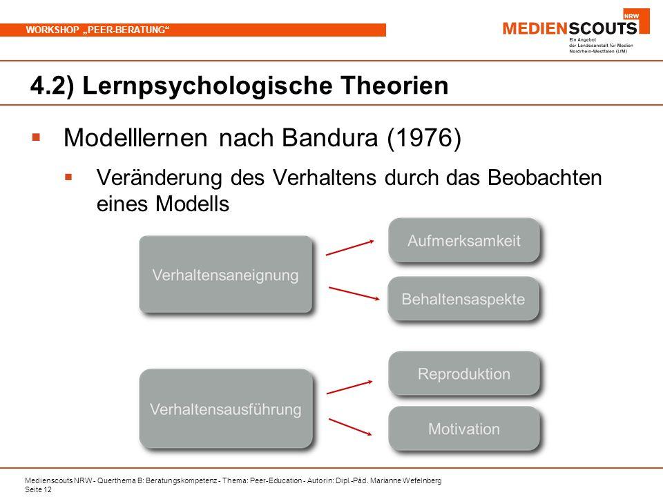 Medienscouts NRW - Querthema B: Beratungskompetenz - Thema: Peer-Education - Autorin: Dipl.-Päd. Marianne Wefelnberg Seite 12 WORKSHOP PEER-BERATUNG 4
