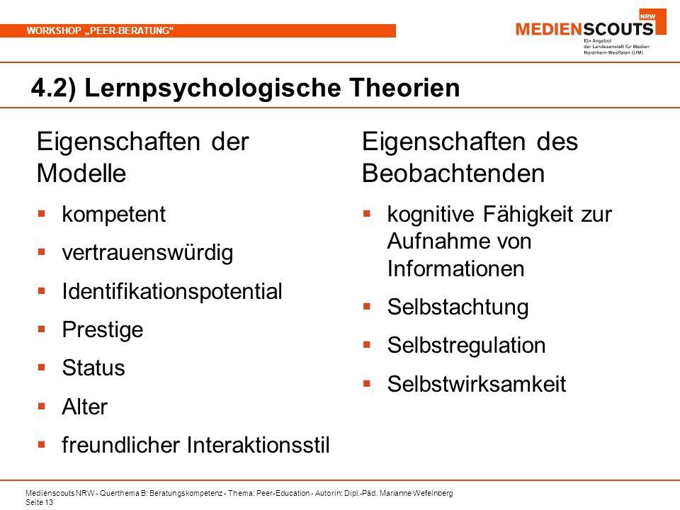 Medienscouts NRW - Querthema B: Beratungskompetenz - Thema: Peer-Education - Autorin: Dipl.-Päd. Marianne Wefelnberg Seite 13 WORKSHOP PEER-BERATUNG 4