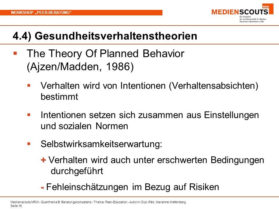 Medienscouts NRW - Querthema B: Beratungskompetenz - Thema: Peer-Education - Autorin: Dipl.-Päd. Marianne Wefelnberg Seite 15 WORKSHOP PEER-BERATUNG 4