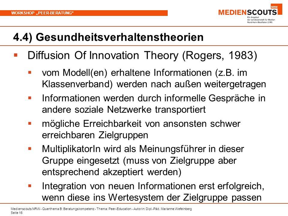 Medienscouts NRW - Querthema B: Beratungskompetenz - Thema: Peer-Education - Autorin: Dipl.-Päd. Marianne Wefelnberg Seite 16 WORKSHOP PEER-BERATUNG 4
