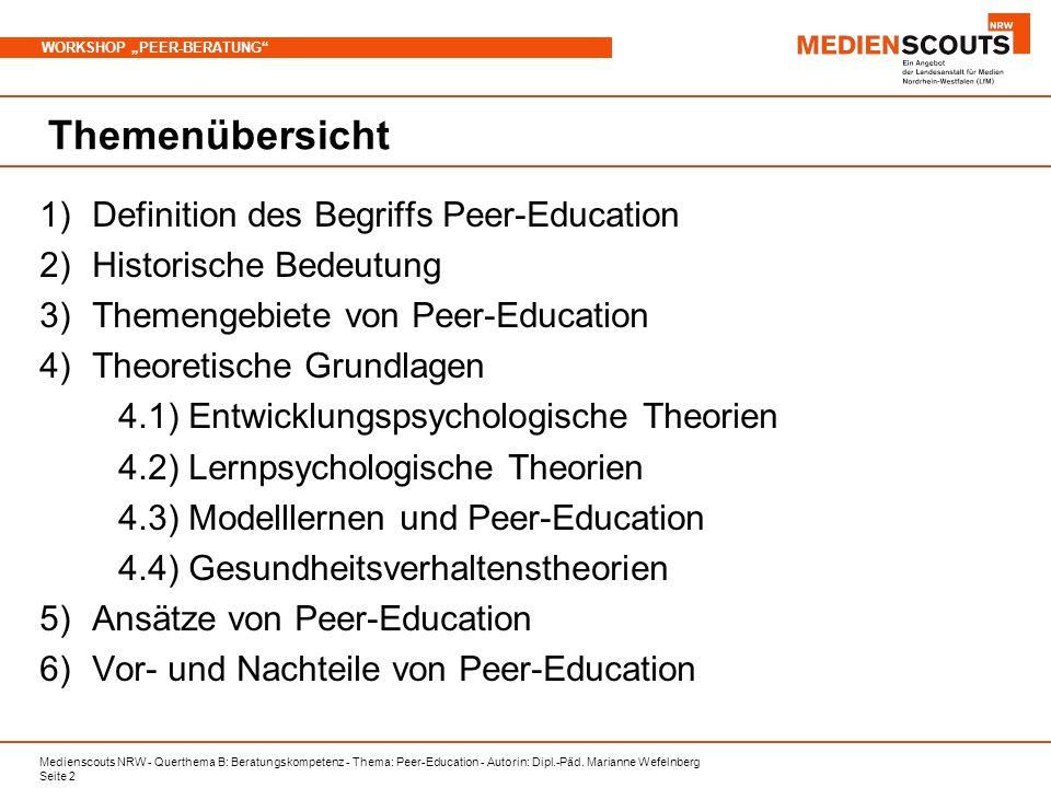 Medienscouts NRW - Querthema B: Beratungskompetenz - Thema: Peer-Education - Autorin: Dipl.-Päd. Marianne Wefelnberg Seite 2 WORKSHOP PEER-BERATUNG Th