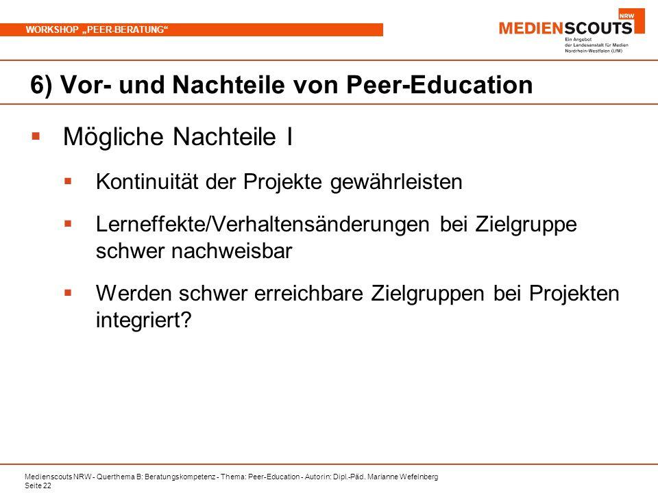 Medienscouts NRW - Querthema B: Beratungskompetenz - Thema: Peer-Education - Autorin: Dipl.-Päd. Marianne Wefelnberg Seite 22 WORKSHOP PEER-BERATUNG 6