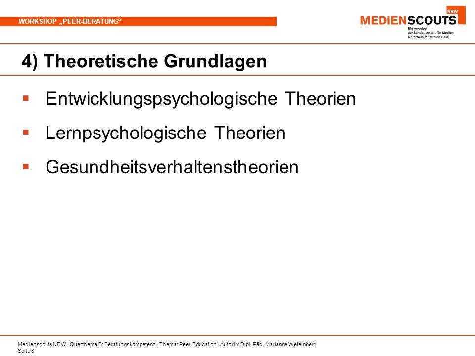 Medienscouts NRW - Querthema B: Beratungskompetenz - Thema: Peer-Education - Autorin: Dipl.-Päd. Marianne Wefelnberg Seite 8 WORKSHOP PEER-BERATUNG 4)