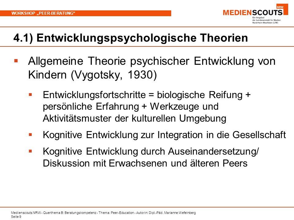 Medienscouts NRW - Querthema B: Beratungskompetenz - Thema: Peer-Education - Autorin: Dipl.-Päd. Marianne Wefelnberg Seite 9 WORKSHOP PEER-BERATUNG 4.