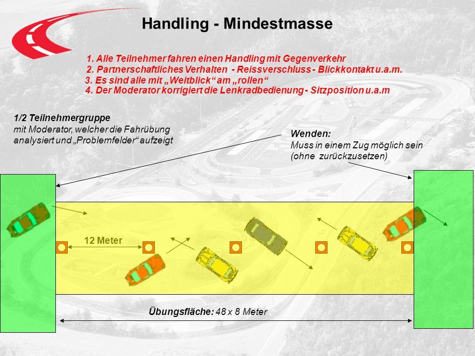 Handling - Mindestmasse 1.Alle Teilnehmer fahren einen Handling mit Gegenverkehr 2.