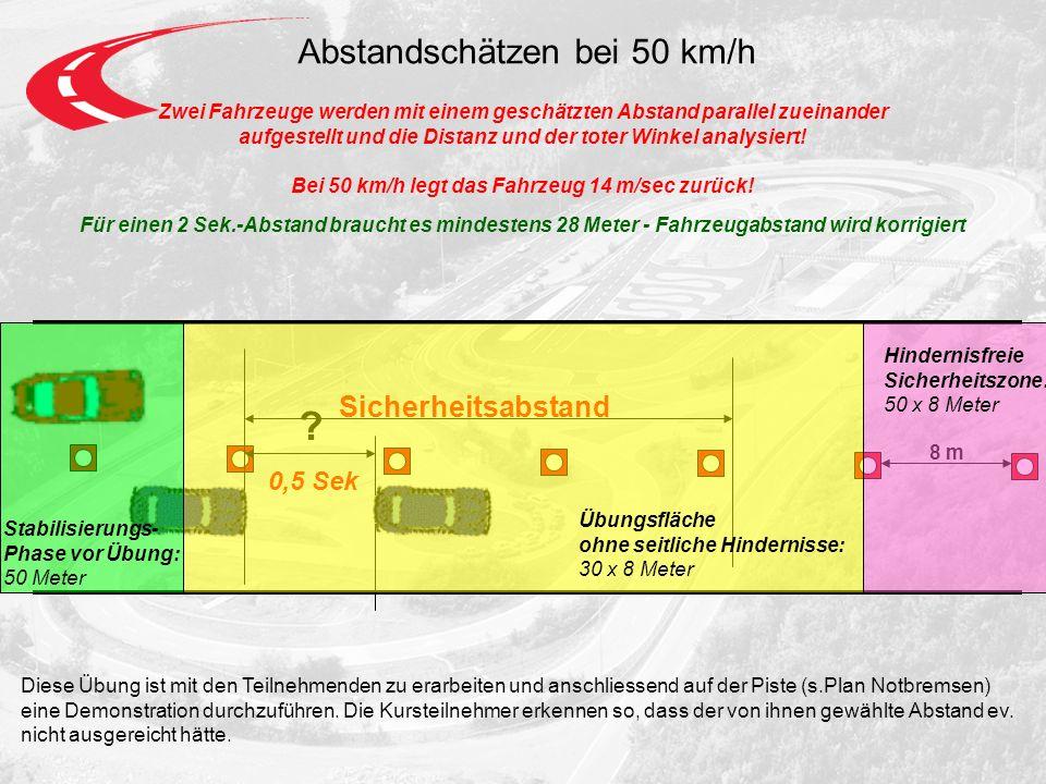 Abstandschätzen bei 50 km/h Zwei Fahrzeuge werden mit einem geschätzten Abstand parallel zueinander aufgestellt und die Distanz und der toter Winkel analysiert.