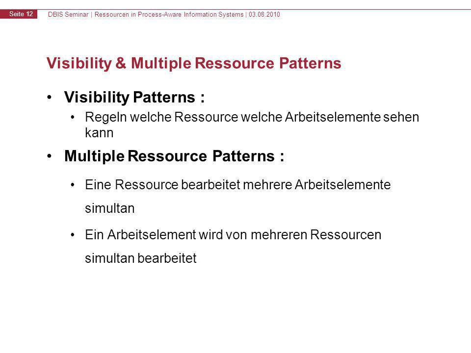 DBIS Seminar | Ressourcen in Process-Aware Information Systems | 03.08.2010 Seite 13 Inhalt 1.Motivation & Grundlagen 2.Resource Patterns 3.WS-HumanTask & BPEL4People 4.Zusammenfassung