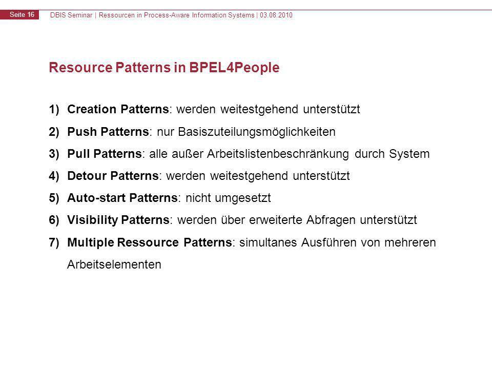 DBIS Seminar | Ressourcen in Process-Aware Information Systems | 03.08.2010 Seite 17 Inhalt 1.Motivation & Grundlagen 2.Resource Patterns 3.WS-HumanTask & BPEL4People 4.Zusammenfassung