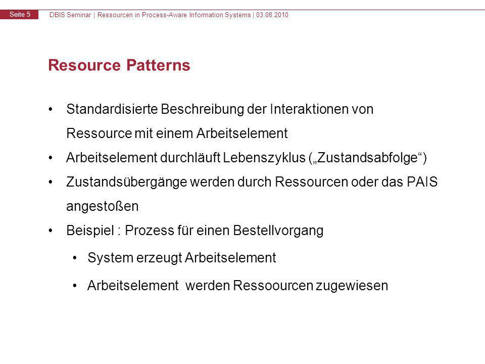DBIS Seminar | Ressourcen in Process-Aware Information Systems | 03.08.2010 Seite 6 Ressource Patterns - Lebenszyklus eines Arbeitselementes created offered to multiple resources allocated to a single resource failed started offered to a single resource suspended completed create offer_s offer_m allocate start allocate_s allocate_m start_m start_s complete fail resume suspend Quelle : Workow Resource Patterns: Identication, Representation and Tool Support N.