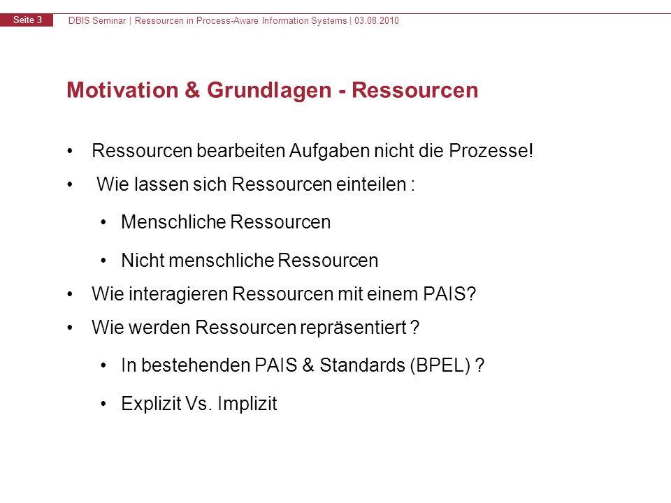 DBIS Seminar | Ressourcen in Process-Aware Information Systems | 03.08.2010 Seite 3 Motivation & Grundlagen - Ressourcen Ressourcen bearbeiten Aufgaben nicht die Prozesse.