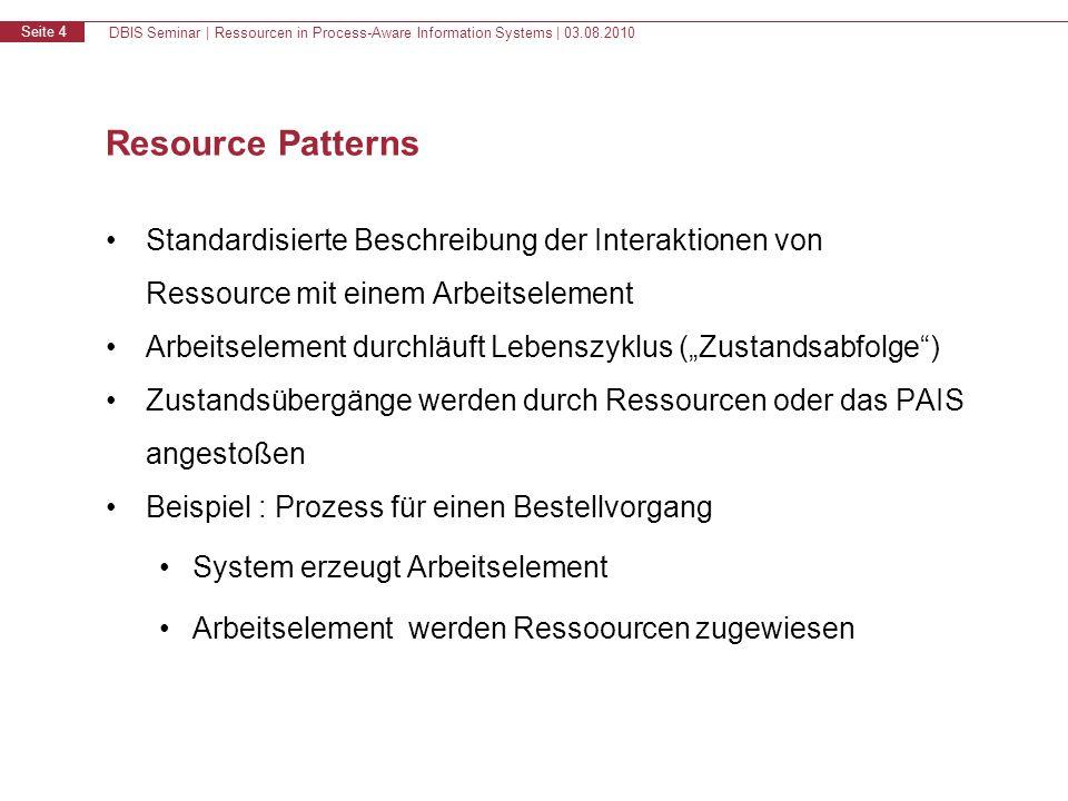DBIS Seminar | Ressourcen in Process-Aware Information Systems | 03.08.2010 Seite 4 Resource Patterns Standardisierte Beschreibung der Interaktionen v
