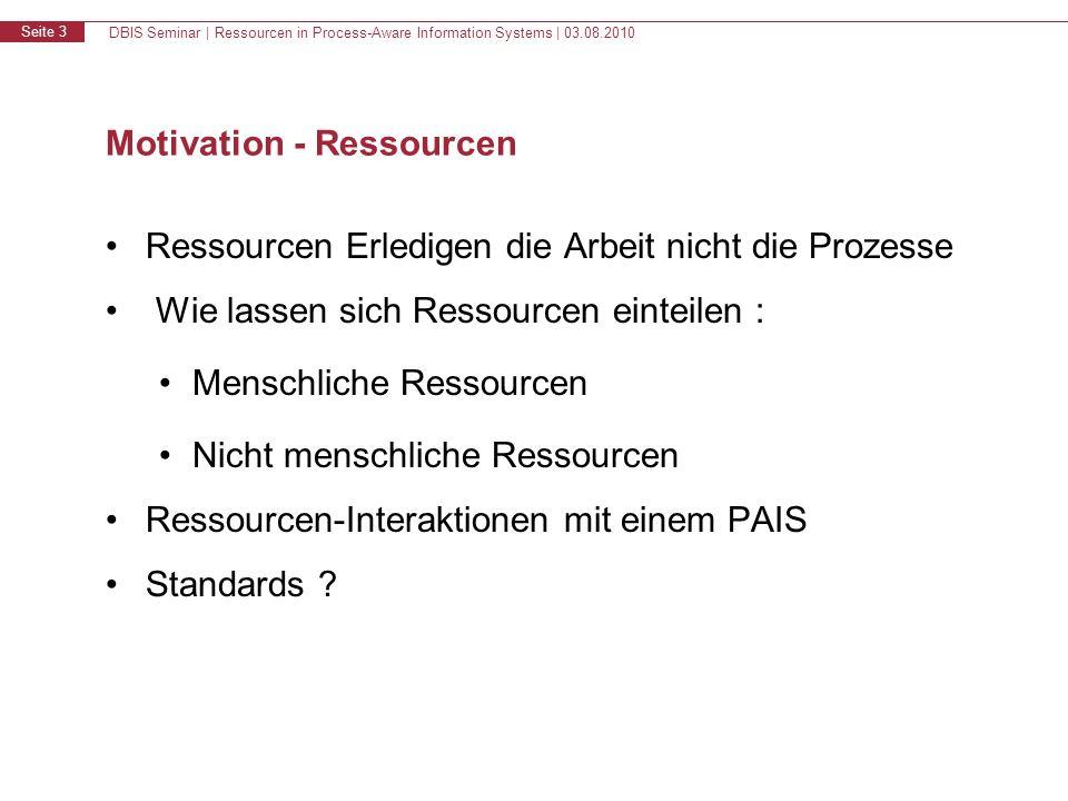 DBIS Seminar | Ressourcen in Process-Aware Information Systems | 03.08.2010 Seite 3 Motivation - Ressourcen Ressourcen Erledigen die Arbeit nicht die Prozesse Wie lassen sich Ressourcen einteilen : Menschliche Ressourcen Nicht menschliche Ressourcen Ressourcen-Interaktionen mit einem PAIS Standards