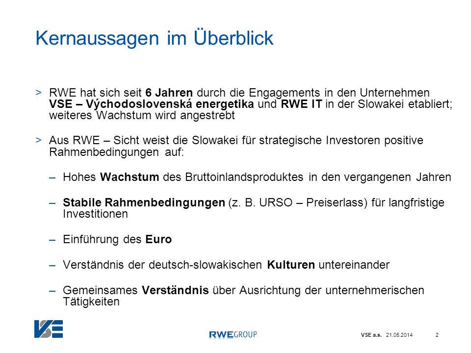 VSE a.s. 21.05.20142 Kernaussagen im Überblick >RWE hat sich seit 6 Jahren durch die Engagements in den Unternehmen VSE – Východoslovenská energetika