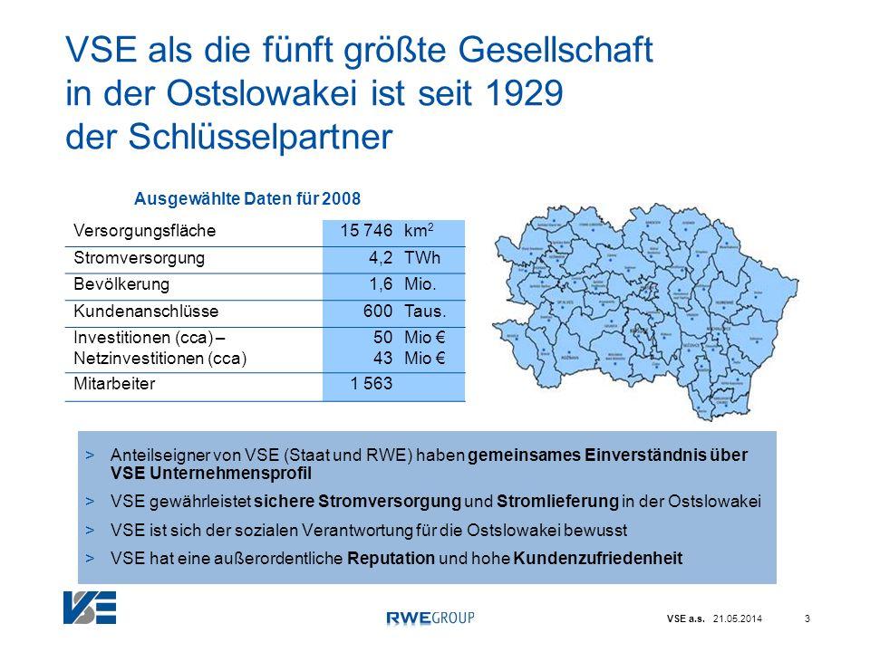 VSE a.s. 21.05.20143 VSE als die fünft größte Gesellschaft in der Ostslowakei ist seit 1929 der Schlüsselpartner >Anteilseigner von VSE (Staat und RWE
