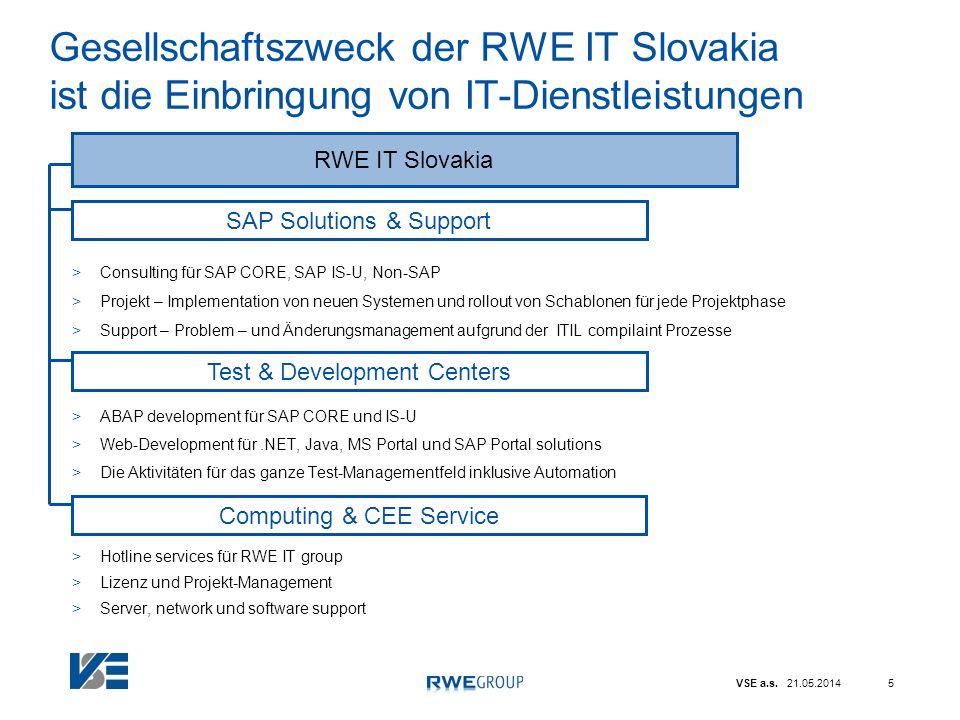 VSE a.s. 21.05.20145 Gesellschaftszweck der RWE IT Slovakia ist die Einbringung von IT-Dienstleistungen >Consulting für SAP CORE, SAP IS-U, Non-SAP >P