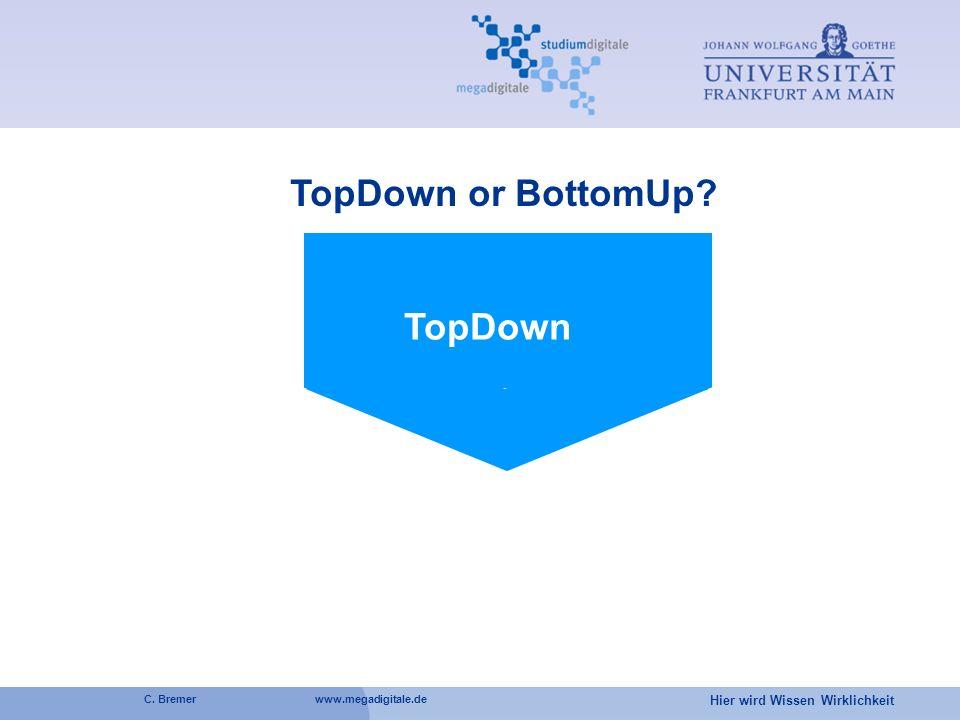Hier wird Wissen Wirklichkeit C. Bremer www.megadigitale.de TopDown or BottomUp? TopDown