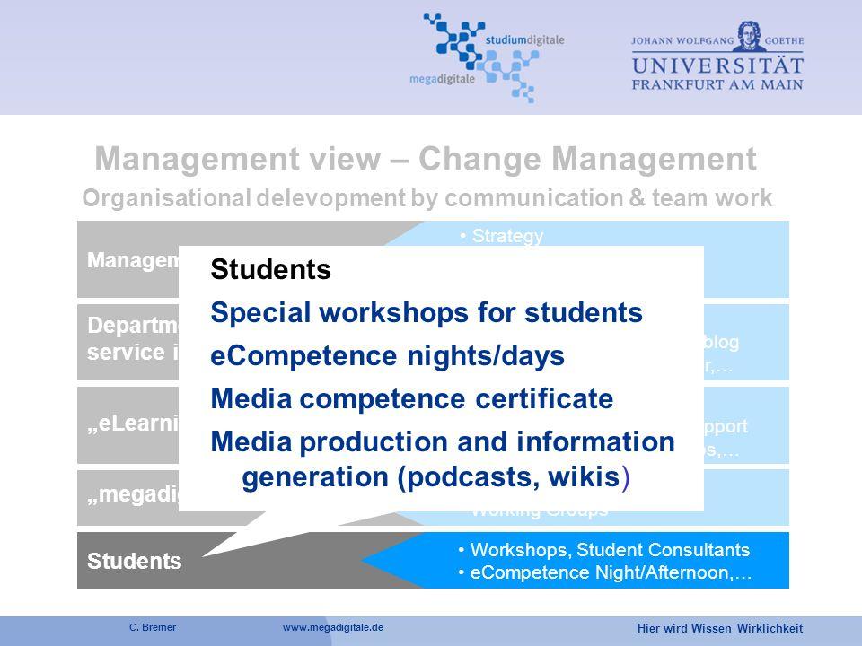 Hier wird Wissen Wirklichkeit C. Bremer www.megadigitale.de Management of university Strategy collegium studiumdigitale HIS Consultance Management vie