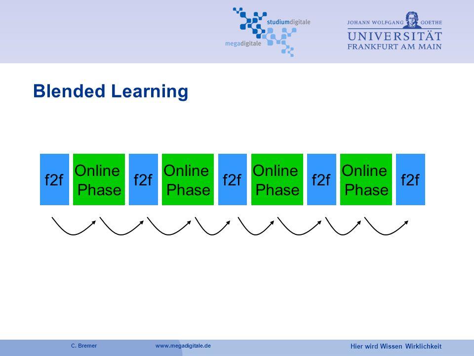 Hier wird Wissen Wirklichkeit C. Bremer www.megadigitale.de f2f Online Phase f2f Online Phase f2f Online Phase f2f Online Phase f2f Blended Learning