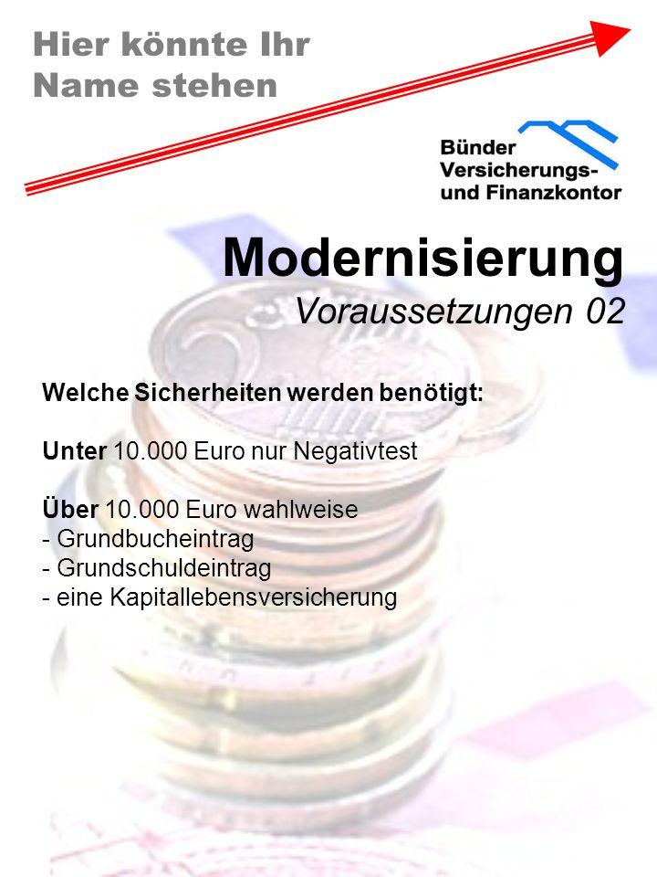 Hier könnte Ihr Name stehen Modernisierung Voraussetzungen 02 Welche Sicherheiten werden benötigt: Unter 10.000 Euro nur Negativtest Über 10.000 Euro
