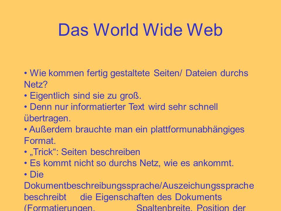 Das World Wide Web Wie kommen fertig gestaltete Seiten/ Dateien durchs Netz? Eigentlich sind sie zu groß. Denn nur informatierter Text wird sehr schne