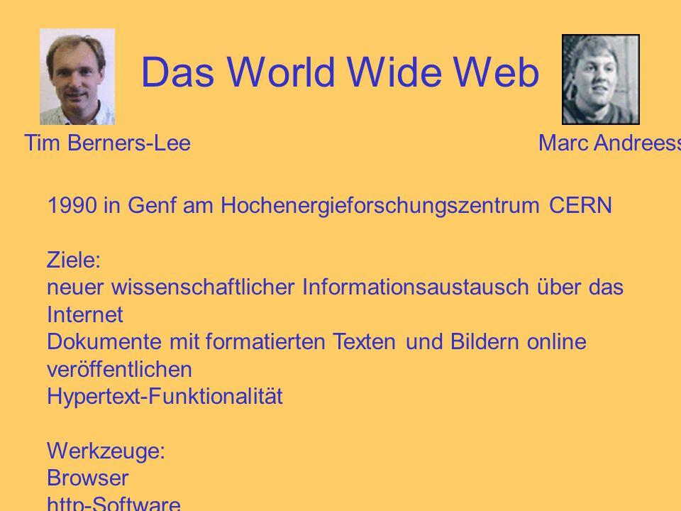 Das World Wide Web 1990 in Genf am Hochenergieforschungszentrum CERN Ziele: neuer wissenschaftlicher Informationsaustausch über das Internet Dokumente mit formatierten Texten und Bildern online veröffentlichen Hypertext-Funktionalität Werkzeuge: Browser http-Software Tim Berners-LeeMarc Andreessen