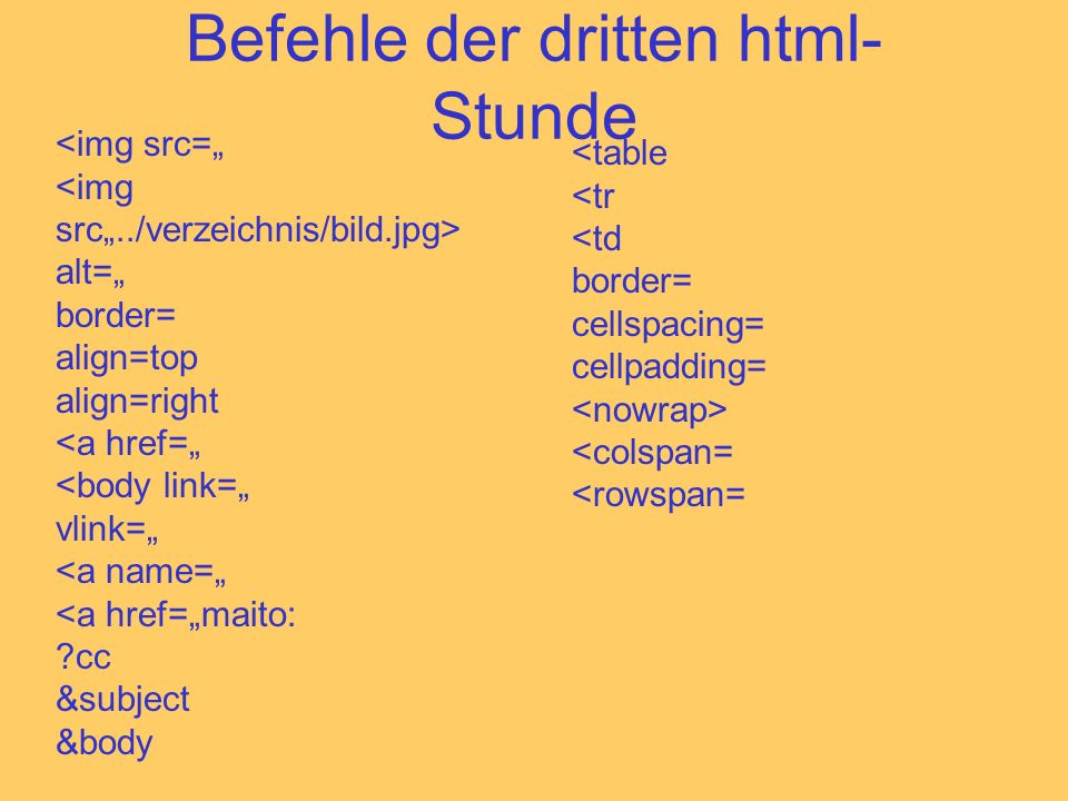 Befehle der dritten html- Stunde <img src= alt= border= align=top align=right <a href= <body link= vlink= <a name= <a href=maito: ?cc &subject &body <