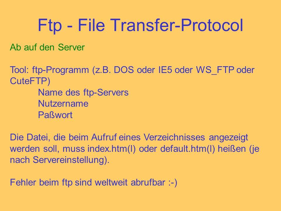 Ftp - File Transfer-Protocol Ab auf den Server Tool: ftp-Programm (z.B.