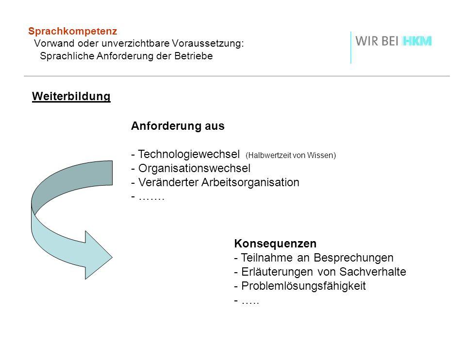 Sprachkompetenz Vorwand oder unverzichtbare Voraussetzung: Sprachliche Anforderung der Betriebe Weiterbildung Anforderung aus - Technologiewechsel (Ha