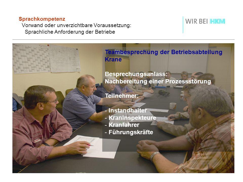Sprachkompetenz Vorwand oder unverzichtbare Voraussetzung: Sprachliche Anforderung der Betriebe Teambesprechung der Betriebsabteilung Krane Besprechun