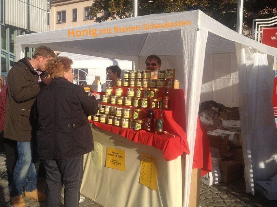 Honig mit Bienen-Schaukasten