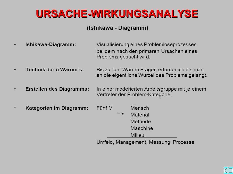 URSACHE-WIRKUNGSANALYSE Ishikawa-Diagramm: Visualisierung eines Problemlöseprozesses bei dem nach den primären Ursachen eines Problems gesucht wird.