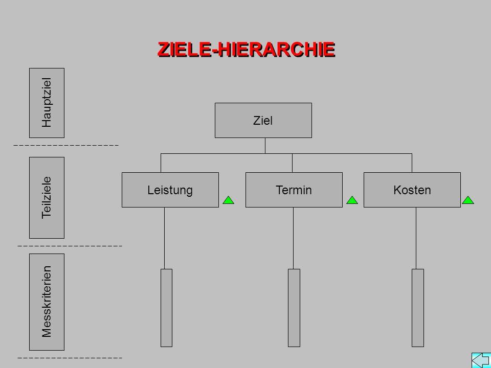 ZIELE-HIERARCHIE Hauptziel Teilziele Messkriterien LeistungTerminKosten Ziel