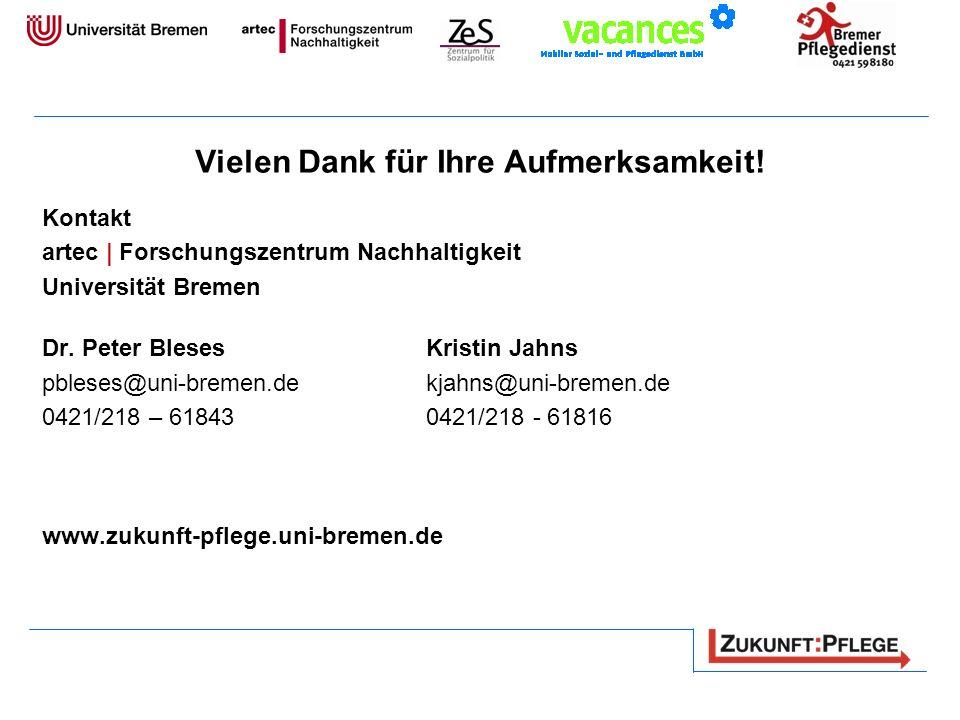 Vielen Dank für Ihre Aufmerksamkeit! Kontakt artec | Forschungszentrum Nachhaltigkeit Universität Bremen Dr. Peter Bleses Kristin Jahns pbleses@uni-br