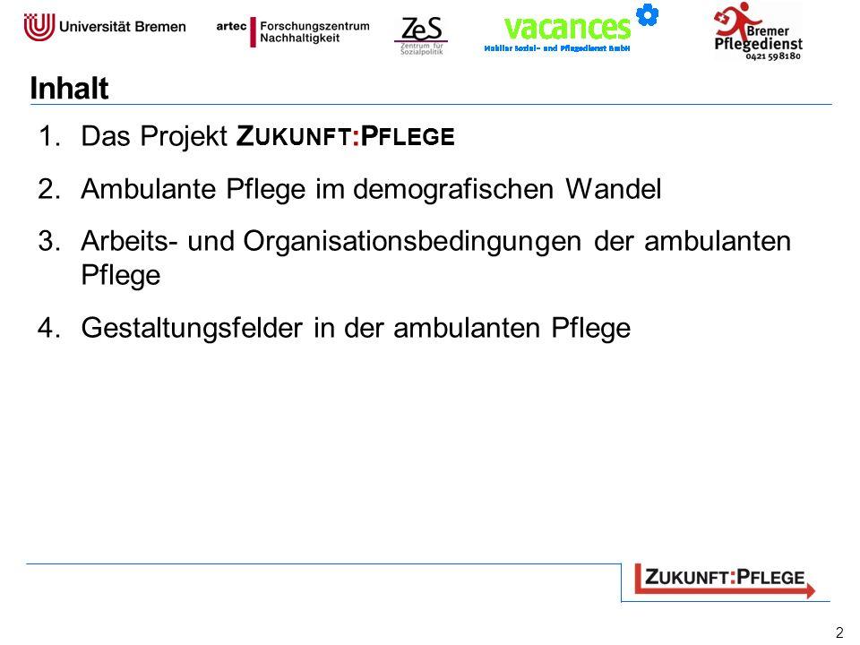 Inhalt 1.Das Projekt Z UKUNFT :P FLEGE 2.Ambulante Pflege im demografischen Wandel 3.Arbeits- und Organisationsbedingungen der ambulanten Pflege 4.Ges