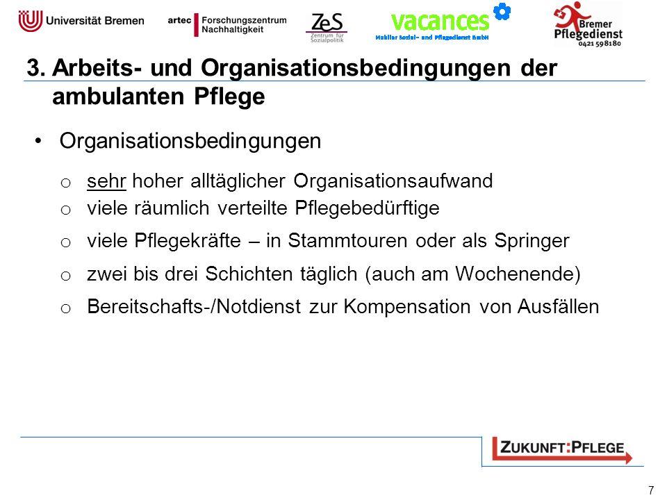 3.Arbeits- und Organisationsbedingungen der ambulanten Pflege Organisationsbedingungen o sehr hoher alltäglicher Organisationsaufwand o viele räumlich