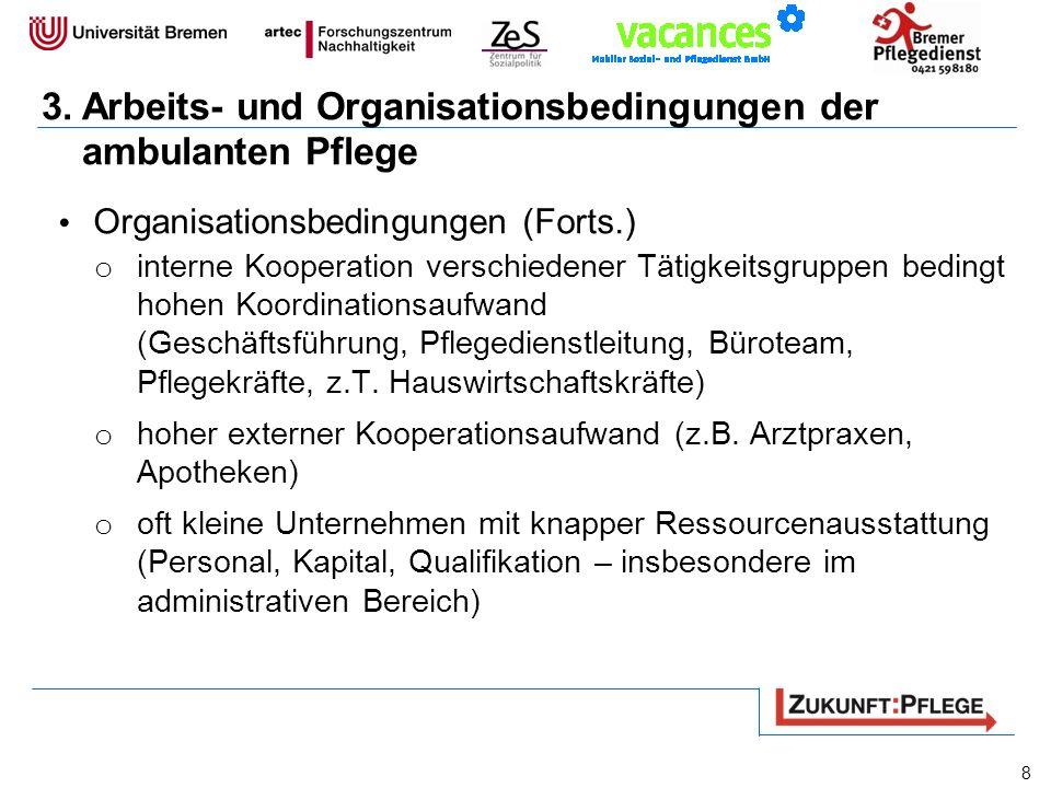 3.Arbeits- und Organisationsbedingungen der ambulanten Pflege Organisationsbedingungen (Forts.) o interne Kooperation verschiedener Tätigkeitsgruppen