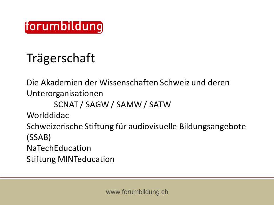 Trägerschaft Die Akademien der Wissenschaften Schweiz und deren Unterorganisationen SCNAT / SAGW / SAMW / SATW Worlddidac Schweizerische Stiftung für audiovisuelle Bildungsangebote (SSAB) NaTechEducation Stiftung MINTeducation