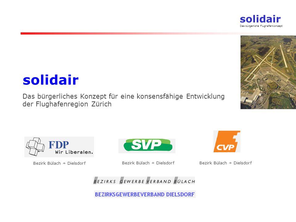 solidair Das bürgerliche Flughafenkonzept solidair Das bürgerliches Konzept für eine konsensfähige Entwicklung der Flughafenregion Zürich Bezirk Bülach + Dielsdorf