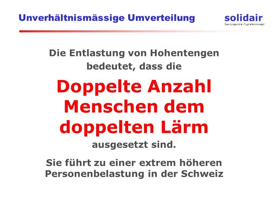 solidair Das bürgerliche Flughafenkonzept Unverhältnismässige Umverteilung Die Entlastung von Hohentengen bedeutet, dass die Doppelte Anzahl Menschen dem doppelten Lärm ausgesetzt sind.