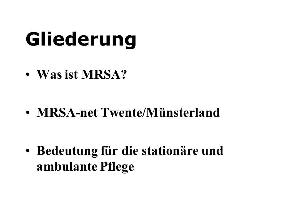 Gliederung Was ist MRSA? MRSA-net Twente/Münsterland Bedeutung für die stationäre und ambulante Pflege