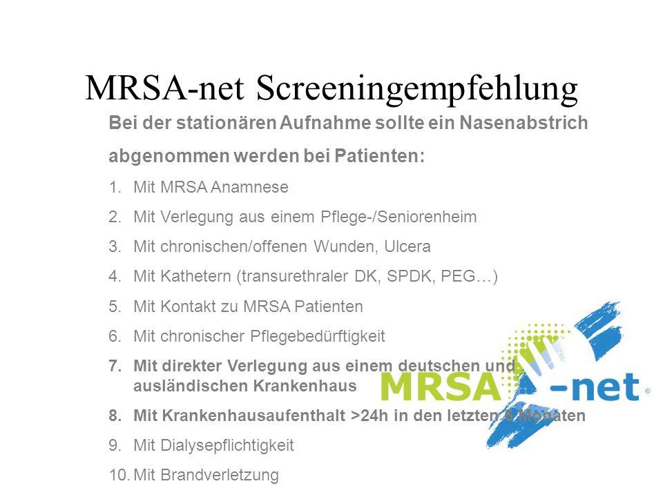MRSA-net Screeningempfehlung Bei der stationären Aufnahme sollte ein Nasenabstrich abgenommen werden bei Patienten: 1.Mit MRSA Anamnese 2.Mit Verlegun