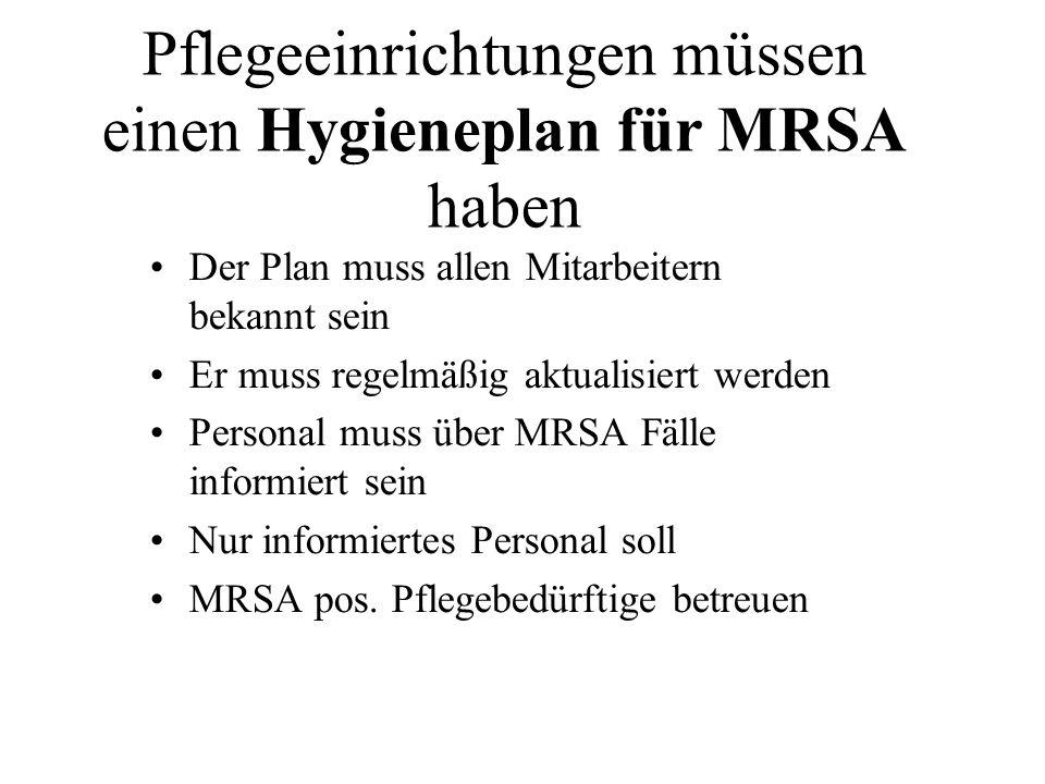 Pflegeeinrichtungen müssen einen Hygieneplan für MRSA haben Der Plan muss allen Mitarbeitern bekannt sein Er muss regelmäßig aktualisiert werden Perso