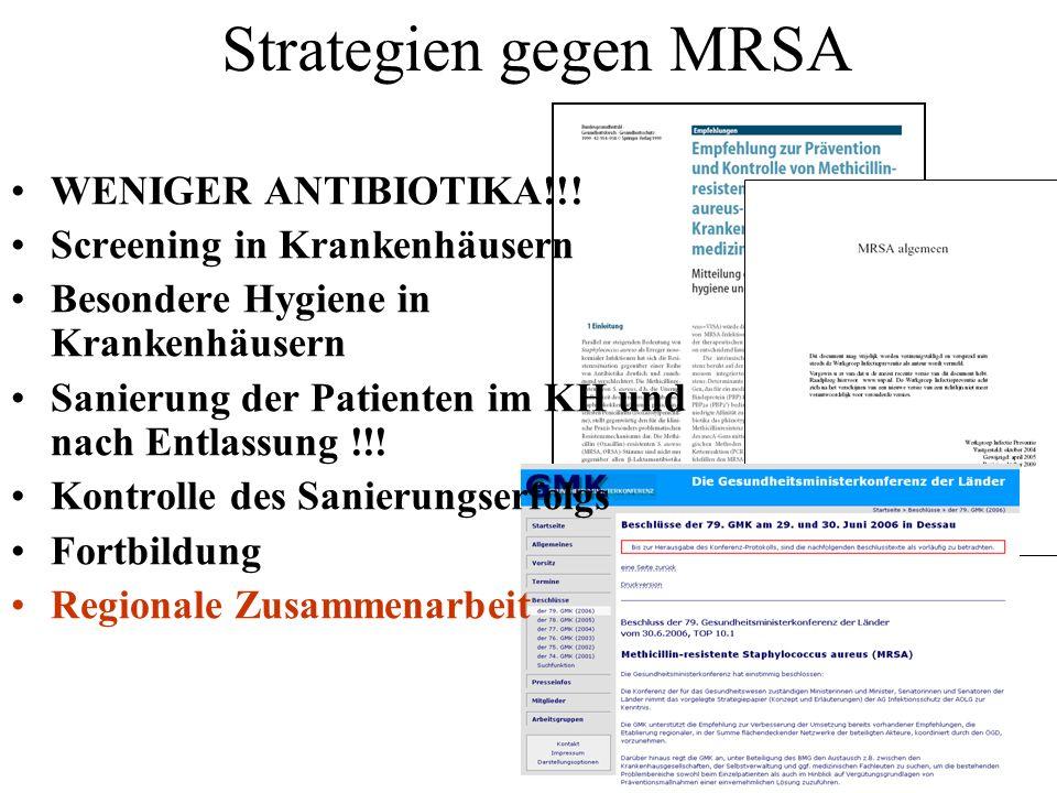 Strategien gegen MRSA WENIGER ANTIBIOTIKA!!! Screening in Krankenhäusern Besondere Hygiene in Krankenhäusern Sanierung der Patienten im KH und nach En