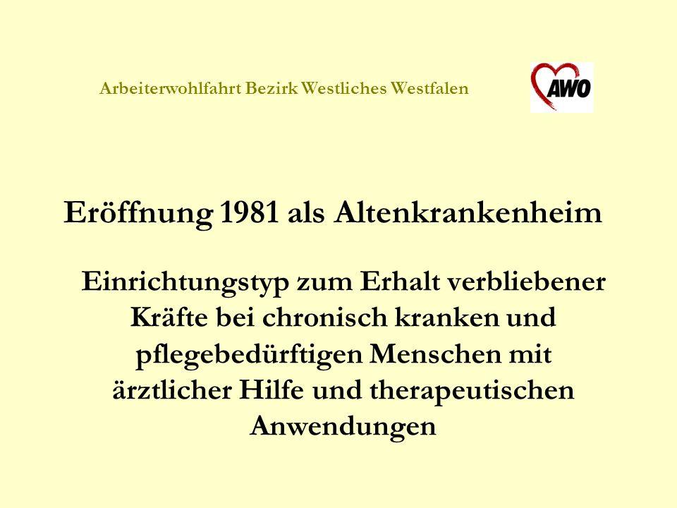Eröffnung 1981 als Altenkrankenheim Einrichtungstyp zum Erhalt verbliebener Kräfte bei chronisch kranken und pflegebedürftigen Menschen mit ärztlicher Hilfe und therapeutischen Anwendungen