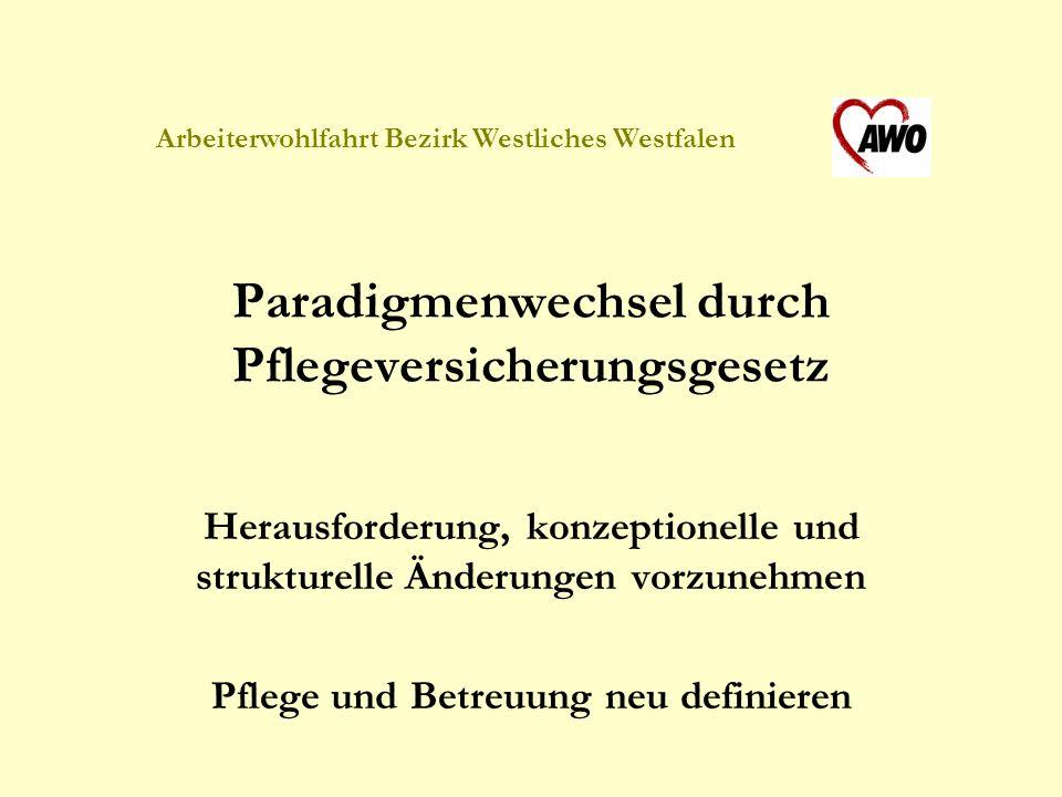 Arbeiterwohlfahrt Bezirk Westliches Westfalen Ziel: weitgehende Anpassung an die im Landespflegegesetz geforderten Modernisierungsstandards Schaffung eines den Pflege- und Betreuungsnotwendigkeiten angemessenen Wohn- und Lebensfeldes